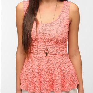 PINS and NEEDLES Daisy Lace Peach Peplum Top XS